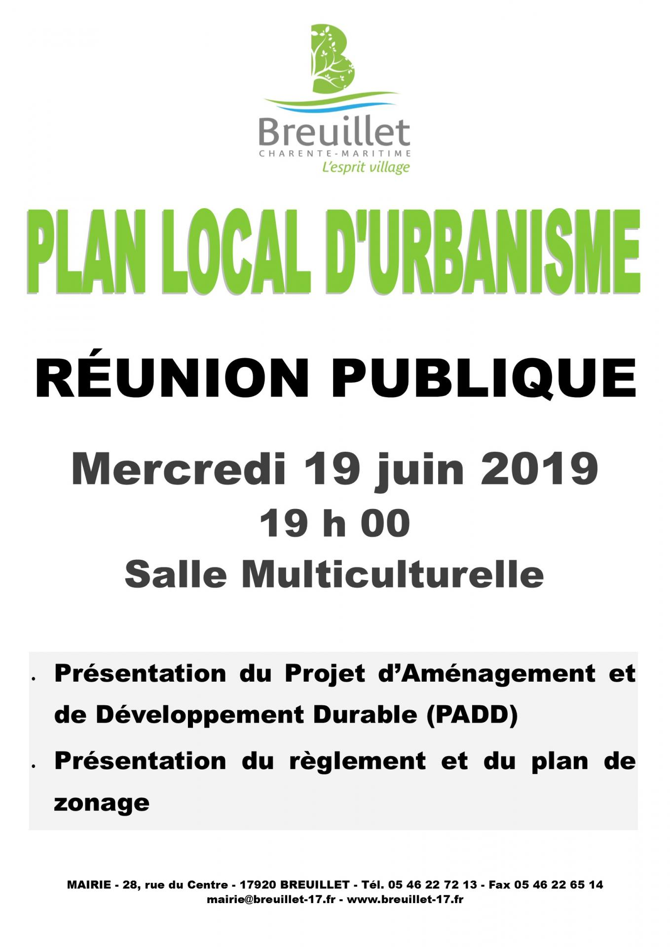 RÉUNION PUBLIQUE « PLAN LOCAL D'URBANISME »