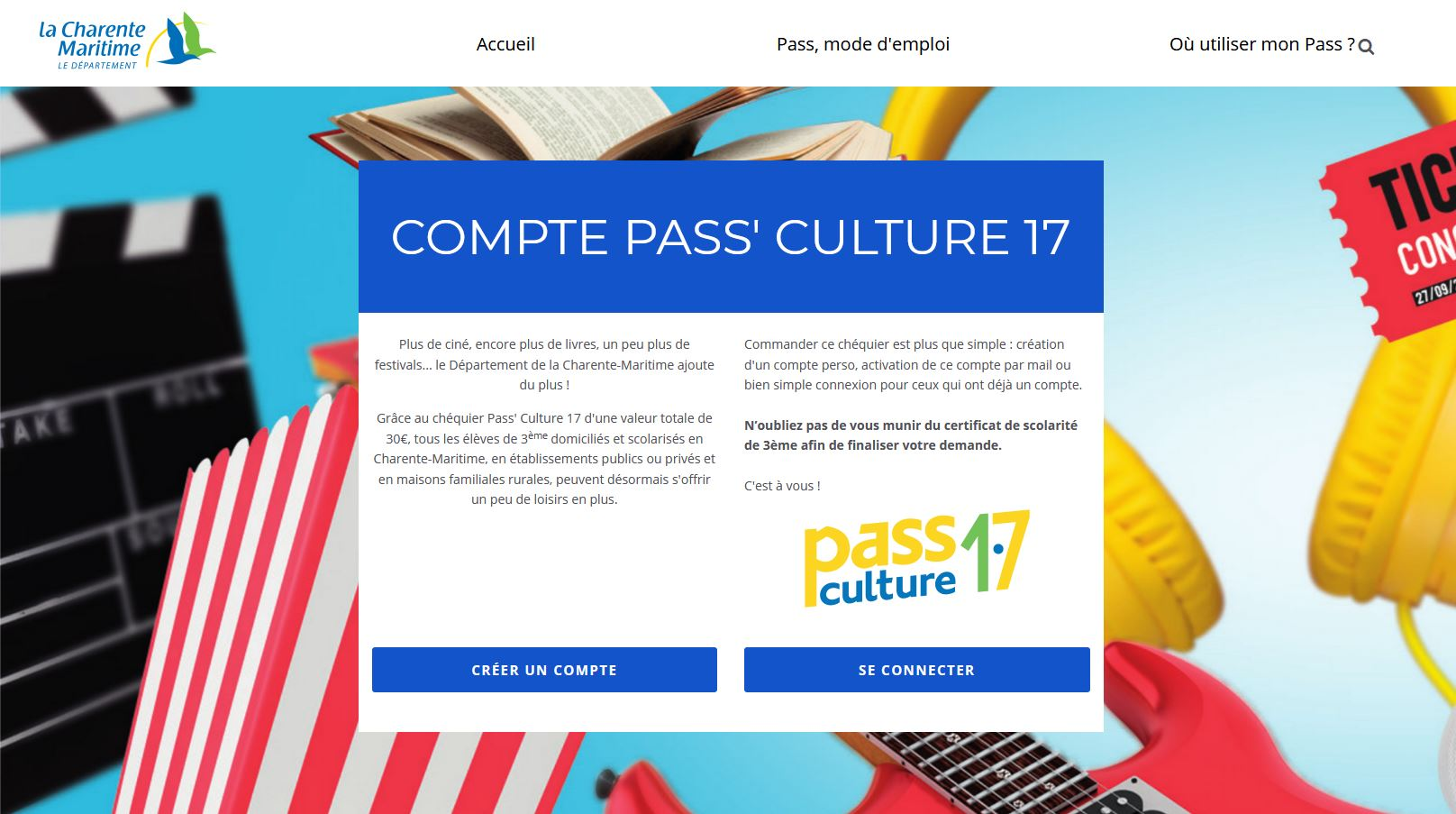 Pass'Culture 17 pour les collégiens de 3ème